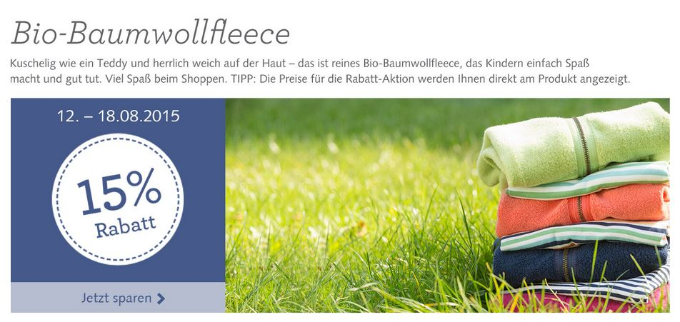 hessnatur Aktion: 15 % Rabatt auf Bio-Baumwollfleece