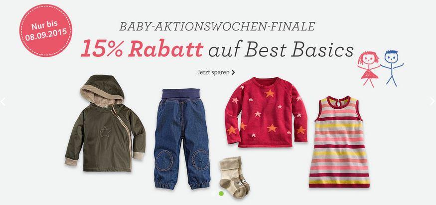 hessnatur Bio-Babykleidung - 15 Prozent auf Best Basics